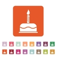 The birthday cake with candles icon Dessert vector image