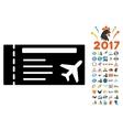 Airticket Icon with 2017 Year Bonus Symbols vector image