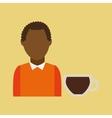 retro maker coffee brown woman cartoon vector image