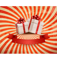 Vintage holiday background with two red gift boxes vector image