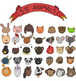 animal heads hand drawn vector image