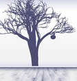 white room with image of apple tree vector image vector image