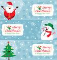 Santa Claus Snowman Tree Banner vector image vector image