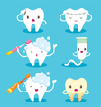 Tooth With Brush And Toothpaste Character Set vector image
