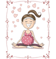 Blissful Pregnant Yoga Cartoon vector image