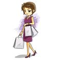Cute shopping girl vector image