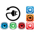 Electric plug button icons set vector image