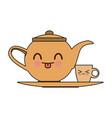 kawaii teapot and cup beverage cartoon vector image