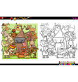 dog characters coloring book vector image