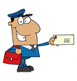 Hispanic Mail Man Holding A Letter vector image