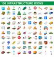 100 infrastructure set cartoon style vector image