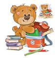 a brown teddy bear holds vector image