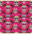 seamless pattern with sugar skulls vector image