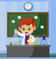 young scientist points to chalkboard and smiling vector image
