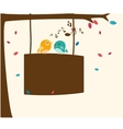 Birds singing on the branch with sign vector image