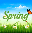 Spring background with grass sky and a butterfly vector image vector image