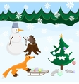 Happy new year with animals fir and snowman vector image
