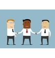 Handshake of multiethnic business partners vector image