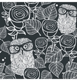 Seamless black and white pattern with cute birds vector image
