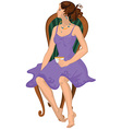 Cartoon young woman in purple dress with cap of vector image