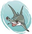 crazy hammerhead shark vector image