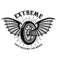 extreme motorcycle wheel with bat wings design vector image