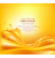 juicy orange background with splashes of juice vector image