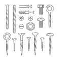 monoline pictures of bolts nuts nails and screws vector image