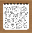 notebook design lions family sketch vector image