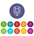 vendetta mask icons set flat vector image