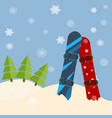 fir trees snowboards hills winter bright day vector image vector image