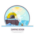 flat style design of winter seaside and caming vector image