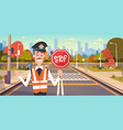 Guard with stop sign on road with crosswalk and vector image