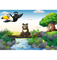Animals and stream vector image