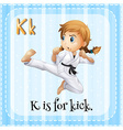 Flashcard of K is for kick vector image
