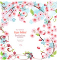 filigree invitation card with blossom cherry for vector image