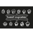 Chalk cupcakes set vector image