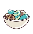 Bowl With Colored Eggs vector image