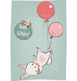 cute hare with balloons vector image