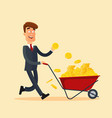 happy businessman in grey suit pushing red cart vector image