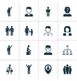 human icons set with employee rejoicing team and vector image