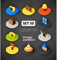 Isometric flat icons set 50 vector image