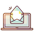 laptop pc icon with e-mail message vector image