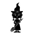 little girl disguised as a witch vector image