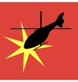 silhouette of an exploding helicopter vector image