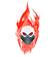 Skull protective mask against a backdrop of flames vector image