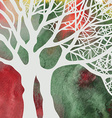 Tree abstract card on the watercolor background vector image