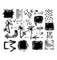 set of black ink hand drawing brushes collection vector image