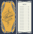 menu with price list and curlicues frame vector image vector image
