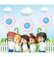 Children in the garden vector image vector image